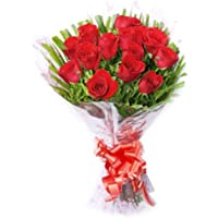 Floralbay Red Roses Bouquet Fresh Flowers in Cellophane Wrapping (Bunch of 15)