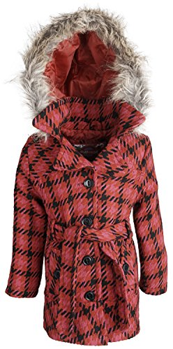 (dollhouse Baby Girls Wool Look Dressy Pea Coat with Removable Hood - Alley Plaid (12 Months))