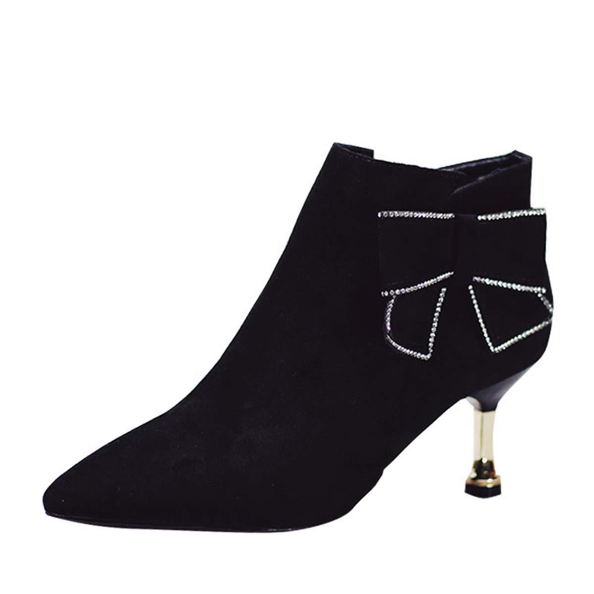 HBDLH Damenschuhe/Kurze Stiefel Mit Hohen 6 cm Spitzen - Dünne Heels Katze Und Hund Komfortabel Kurzen Schlauch Ma Dingxue