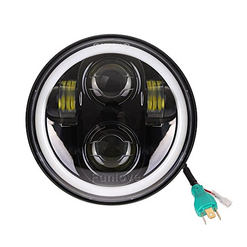 Funlove 5 3/4 5.75 Inch LED Headlight Halo with DRL for Harley Davidson ()