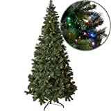 7.5ft Prelit Christmas Tree with 440 Color-Changing LED Lights, Artificial Pine with Hinged Branches and Foldable Stand for Easy Assembly, Warm White and Multicolor