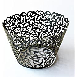 Sorive ® Vine Cupcake Holders Filigree Vine Designed Decor Wrapper Wraps Cupcake Muffin Paper Holders - 48pcs (Black)