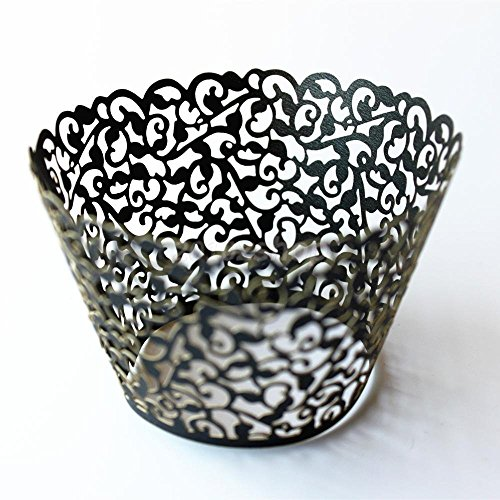 Sorive Pack of 120 Black Cupcake Wrappers Filigree Artistic Bake Cake Paper Cups Little Vine Lace Laser Cut Liner Baking Cup Muffin Case Trays for Wedding Party Birthday Decoration SRI0686