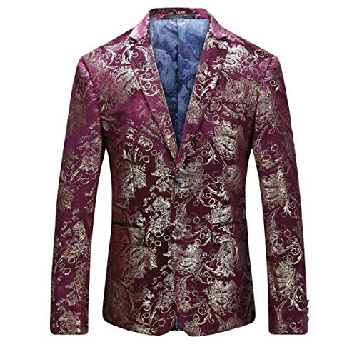 (Men's Dress Floral Suit Notched Lapel Slim Fit Stylish Blazer Dress Suit (Red,)