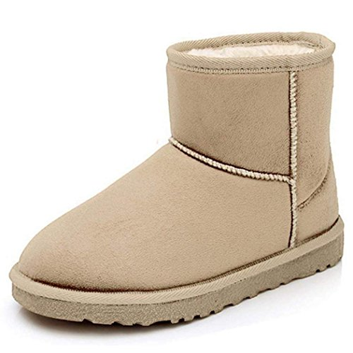 Eshion Mens Women Winter Ankle Boots Faux Fur Lined Warm Snow Boots Plush Flat Shoes Beige u6DlW