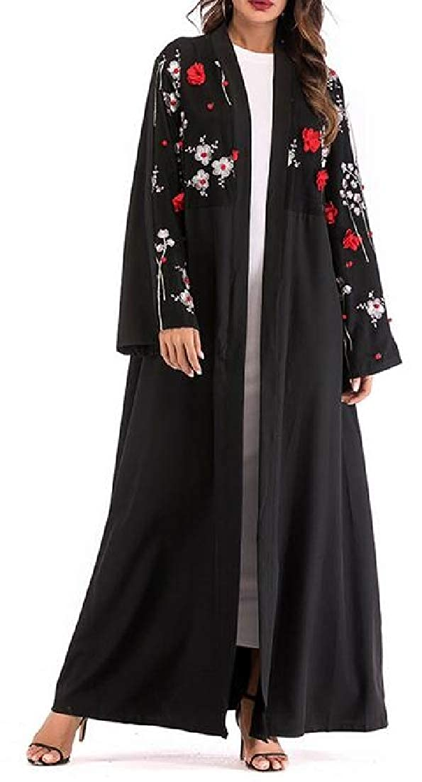 SHOWNO Womens Muslim Long Sleeve Middle East Embroidery Open Front Robes Maxi Dress