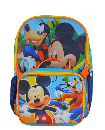 Disney Boys' Mickey Backpack with Lunch Kit, Blue, One Size