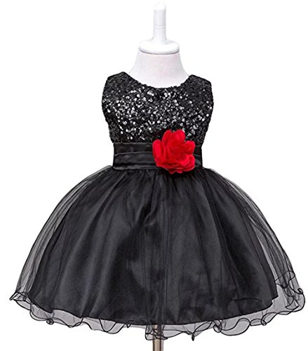 ZAHB Sequin Mesh Flower Party Wedding Gown Bridesmaid Tulle Dress Little Baby ()