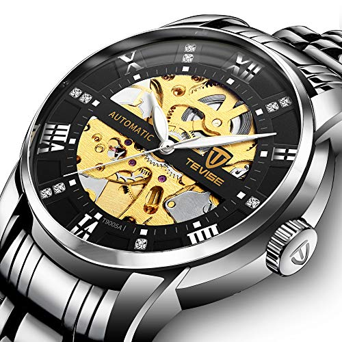 (Men's Watch Luxury Mechanical Stainless Steel Skeleton Waterproof Automatic Self-Winding Luminous Diamond Dial Wrist Watch Silver Black)