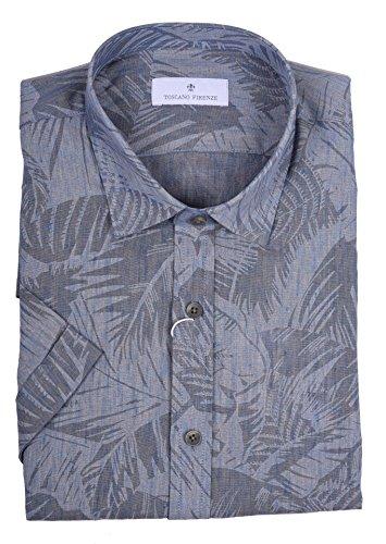 TOSCANO FIRENZE Leaf Print Linen SS - Toscano Linen Shirt