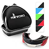 Proworks Impact Resistant Mouth Guard | Protective Gum Shield and Tooth Guard for Boxing, MMA, Rugby, Hockey and Other Contact Sports - Black/Red