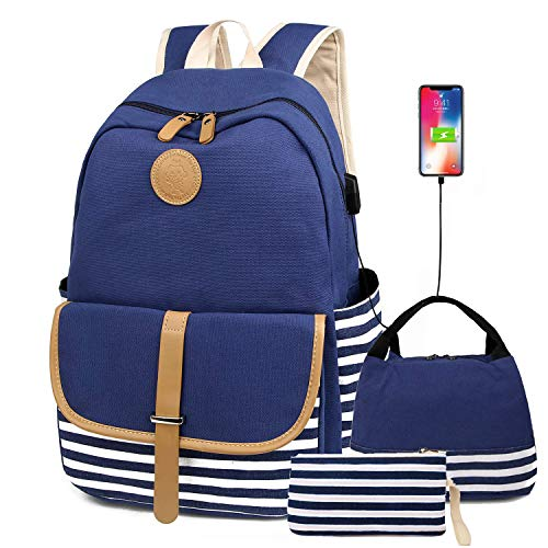 Lightweight Canvas Backpack Set, 3 in 1 Fashion Rucksack Travel Laptop Backpack Bookbag with Lunch Bag