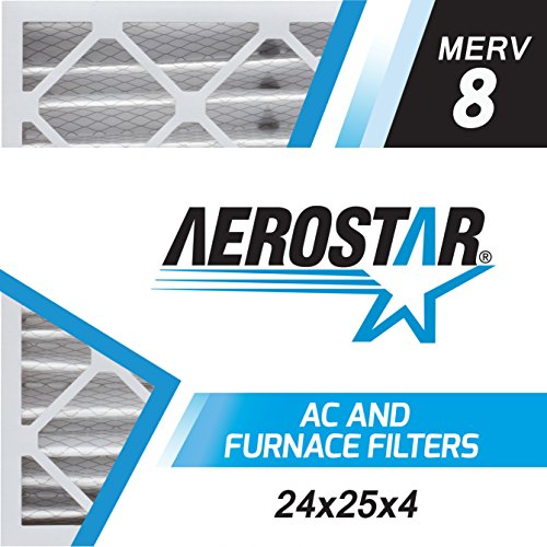Aerostar 24x25x4 MERV 8, Pleated Air Filter, 24 x 25 x 4, Box of 6, Made in the USA