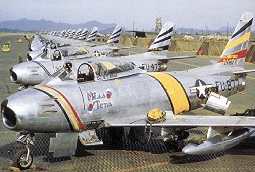 Home Comforts North American F-86F-30-NA Sabres of The 8th Fighter-Bomber Group, 80th Fighter Squadron, Korea, 195 Vivid Imagery Laminated Poster Print 24 x 36