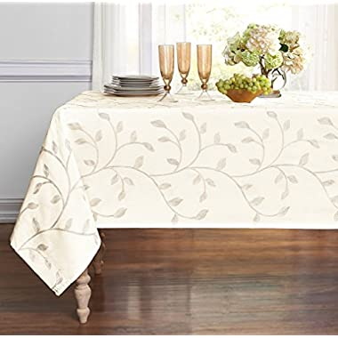 GoodGram Luxurious Heavy Weight Madison Leaf Embroidered Fabric Tablecloth, Beige, 54 x 84 - Inch