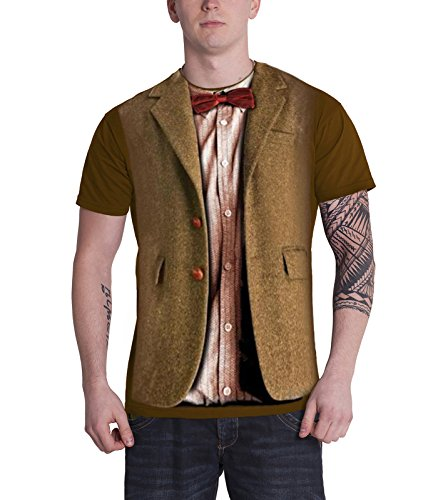 [Doctor Who T Shirt Dr Who Matt Smith 11Th Doctor Costume Official Mens Brown] (Matt Smith Costume)