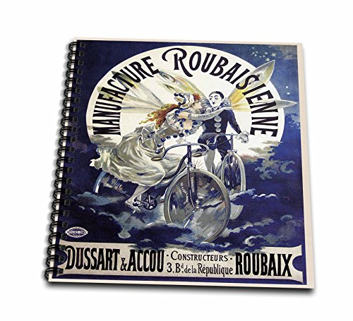 "3dRose 3D Rose db_149188_1 Vintage Manufacture Roubaisienne Bicycle French Poster-Drawing Book, 8 by 8-inch, 8"" x 8"""