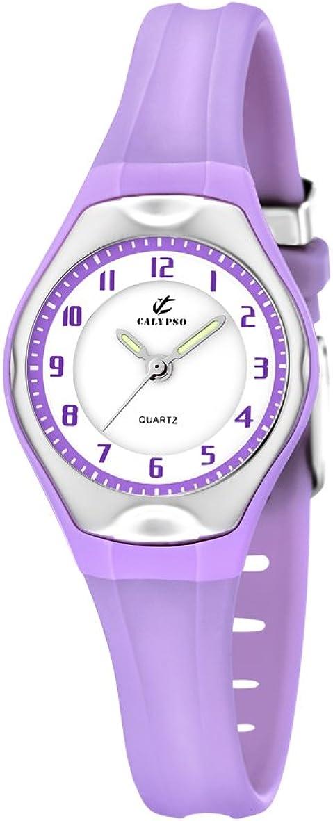 Calypso Watches - Reloj analógico de Cuarzo para niña con Correa de Caucho, Color Morado