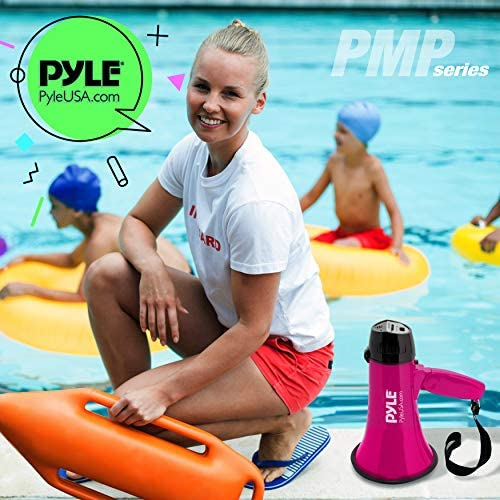 Portable Megaphone Speaker Siren Bullhorn - Compact and Battery Operated with 20 Watt Power, Microphone, 2 Modes, PA Sound and Foldable Handle for Cheerleading and Police Use - Pyle PMP24PK (Pink)