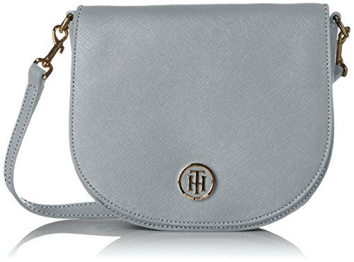 Tommy Hilfiger Womens Honey Saddle Bag Canvas and Beach Tote Bag Grey (Sharkskin)