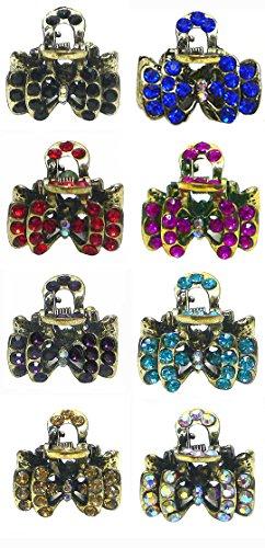 Bella 8 Piece Set Mini Jaw Clips Tiny Sparkling Metal Claw Clips Hair Clips U864175-0678-8
