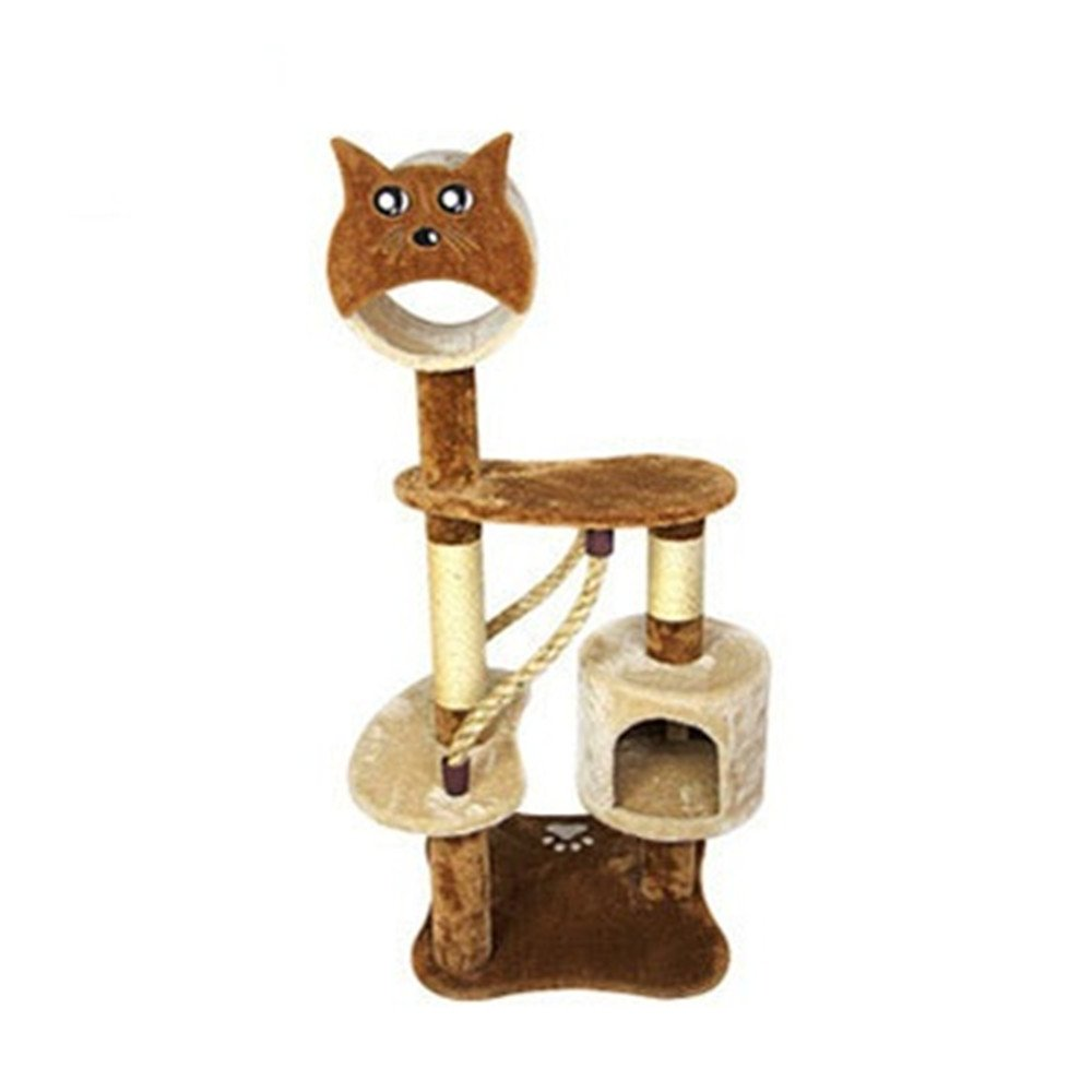 Beige PET 55 Cat Tree Sisal Climbing Frame Litter Three-layer Toy Cat Jumping Platform (color   Beige)