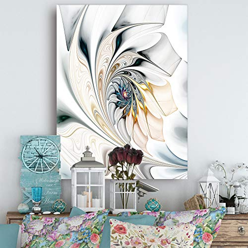 Design Art White Stained Glass Floral Wall Art Canvas, 30