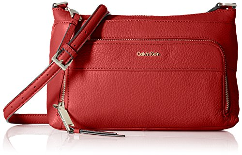 Calvin Klein Top Zip Pebble Leather Crossbody, red/Silver metllc ()
