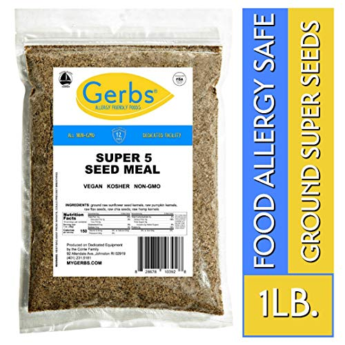 Sunflower Seeds Protein - Ground Pumpkin, Sunflower, Chia, Flax, Hemp Seed Meal, 1 LB. By Gerbs - Top 14 Food Allergy Free & NON GMO - Vegan & Keto Safe - Milled Full Oil Seed Protein Powder