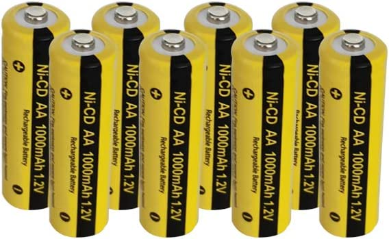 1.2v Nicd 1000mAh AA Rechargeable Batteries for Garden Landscaping Solar Lights (8pc)