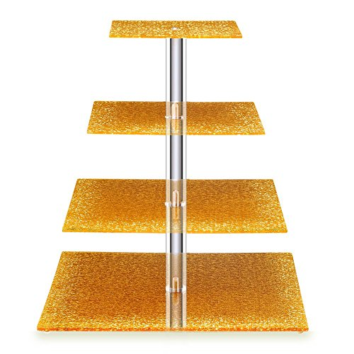 BonNoces Acrylic Cupcake Stand - 4 Tiers Square Cupcake Tower - Tiered Serving Dessert Cake Holder - Unique Golden Exquisite Patterns - Perfect for Wedding, Birthday, Party, Baby Shower and -