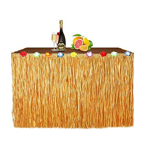 Grass Skirt Material (Newland Luau Grass Table Skirt for Hawaiian Party, Moana Theme Tropical Birthday Party Decorations Ideas Supplies, Luau Hawaiian Party Decorations, Drop artificial grass table skirt (Straw)