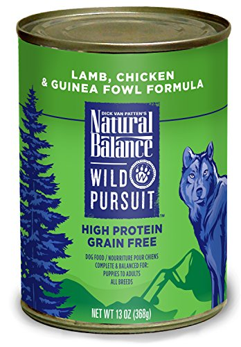 Natural Balance Wild Pursuit High Protein Grain Free Wet Dog Food, Lamb, Chicken & Guinea Fowl Formula, 13-Ounce (Pack of 12) For Sale