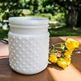 2 Pack-Vintage Hobnail White Milk Glass Jar Candle Holder, Antique Vase, Small