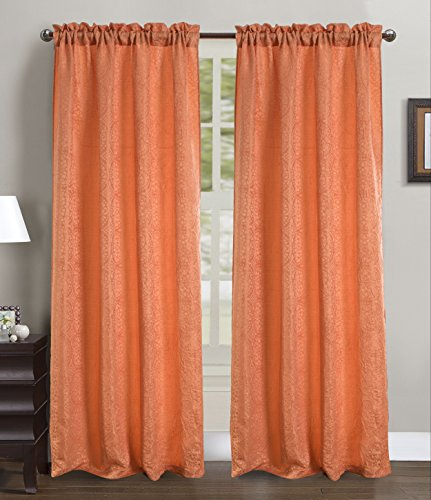 RT Designers Collection Fulton Crushed 53 x 90 in. Rod Pocket Curtain Panel, Orange