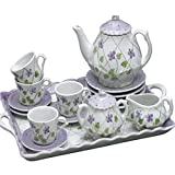 Childrens Tea Party Set for 4, Violets and Polka Dots