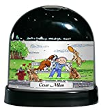 Personalized Friendly Folks Cartoon Caricature Snow Globe Gift: Dog Lover - Male Great for animal rescue, pet sitter, dog walker