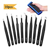 Immuson ESD Tweezers Kit 10pcs Precision Anti-static Tweezers Set Non-magnetic Multi-standard Stainless Steel Tweezers Repair Kit with Storage Bag for Lab Electronics Jewelry and Detailed Work