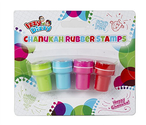 Chanukah Rubber Stamps - 4 Pack - Hanukah Stationary, Arts and Crafts - Gifts and Games by Izzy 'n' Dizzy