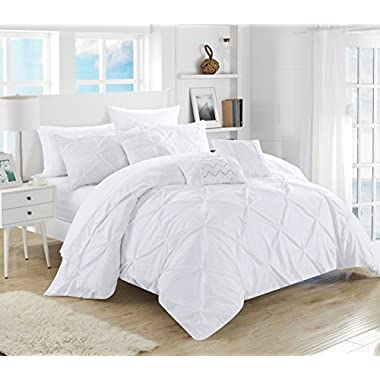 Chic Home 10 Piece Hannah Pinch Pleated, ruffled and pleated complete King Bed In a Bag Comforter Set White With sheet set