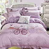 SD Top-grade Tencel 1000T 4-Piece with Embroidery Duvet Cover Set with Full Size Queen Size One Bike with Pink,White,Khaki,Blue Flower and Road Pattern Lavender Background Palace Luxury Style