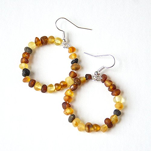 Hippie Hoopla Raw Baltic Amber Loop Earrings - Multi-colored