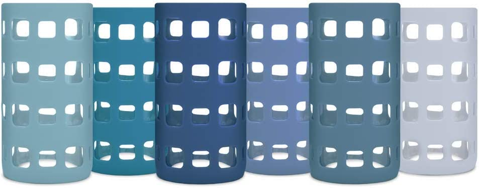 Silicone Glass Water Bottle Sleeves - 6-Pack of Protective Holders 16-18 oz Capacity - Anti-Slip Protection for Beverage Containers - Insulating Carriers for Smoothies and Juices (Ocean Blues)