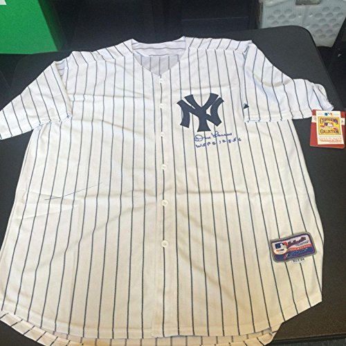 Don Larsen World Series - Autographed Don Larsen Jersey - World Series Perfect Game 10 8 56 NY - PSA/DNA Certified - Autographed MLB Jerseys