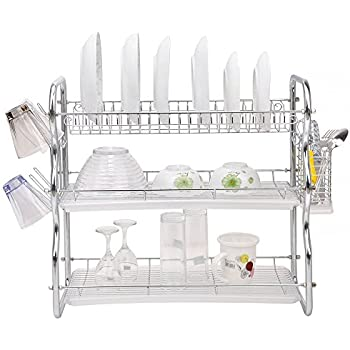Nice Toplife 3 Tier Chrome Kitchen Dish Drainer Drying Rack