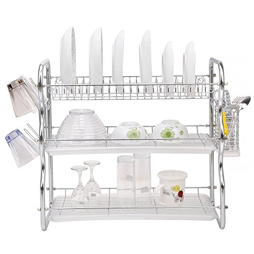 Toplife 3 Tier Chrome Kitchen Dish Drainer Drying Rack