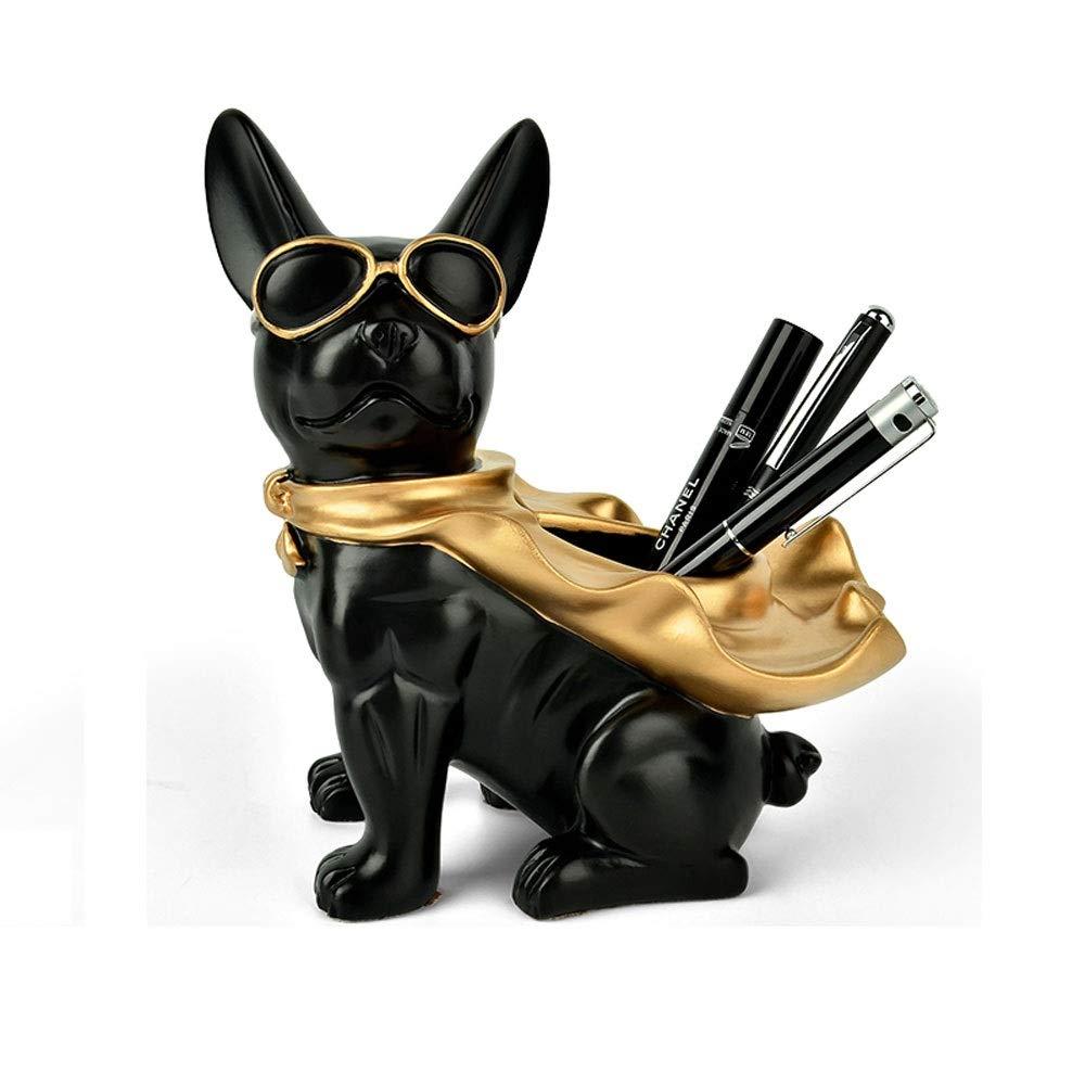 JINZHENGYAOYE Nordic Modern Pen Holder, Resin Material Fashion Decoration, Creative Office Desktop Storage Box, Multi-Function Makeup Brush Storage Bucket (Color : Black) by JINZHENGYAOYE