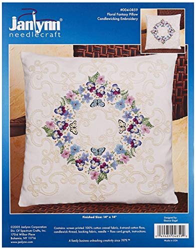 - Janlynn Crewel Embroidery Kit, Floral Fantasy Pillow