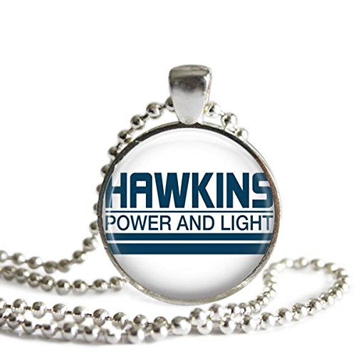 1 Light Parlor Pendant (Stranger Things Necklace Hawkins Power and Light 1 inch Silver Plated Picture Pendant)
