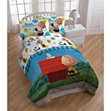 5pc Kids Peanuts Movie Themed Comforter Twin Set, Yellow White Blue Red Green, Cute Fun Charlie Brown Best Friends Snoopy Woodstock Bedding, Classic Dog House Character Themed Pattern